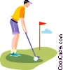 Golfer putting Vector Clipart picture