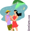 Couple on the beach Vector Clipart picture