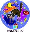 Vector Clip Art graphic  of a Black Cats