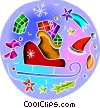 Vector Clip Art picture  of a Santa's sleigh loaded with