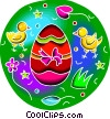 Vector Clip Art image  of a Chicks with Easter eggs