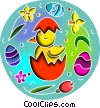 Chicks with Easter eggs Vector Clip Art picture