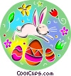 Vector Clipart graphic  of a Easter bunny jumping over
