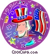 Vector Clip Art image  of a Uncle Sam with flag and