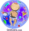 Pregnancy and Newborn Babies Vector Clip Art picture