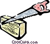 Vector Clipart image  of a saw cutting a piece of wood