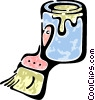 Vector Clip Art graphic  of a paint can and brush