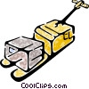 Vector Clipart graphic  of a pump jack with a shipment