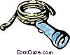 Vector Clipart illustration  of a flashlight and a rope