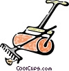 Vector Clipart graphic  of a lawn roller and rake