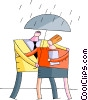 Couple caught in the rain Vector Clipart illustration