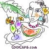 Cocktails and Mixed Drinks Vector Clipart illustration