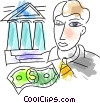 businessman at the bank Vector Clip Art picture