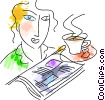 Having Coffee Vector Clipart illustration