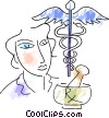 Vector Clip Art graphic  of a Caduceus
