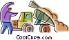 Vector Clipart graphic  of a Dump Trucks