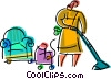 Vacuuming Vector Clipart graphic