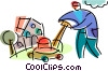 Lawnmowers Vector Clipart graphic