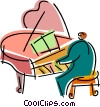 Pianists playing Vector Clipart illustration