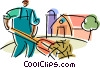 Farmer bailing hay Vector Clip Art picture