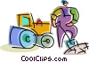 Vector Clip Art image  of a Steam Rollers