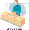 Crates, Boxes, Shipments Vector Clipart illustration