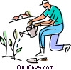 gardener watering his plants Vector Clipart illustration