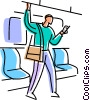 Passenger on a subway with cell phone Vector Clipart illustration