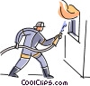 Vector Clipart graphic  of a fireman fighting a fire