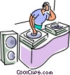 Vector Clipart picture  of a DJ spinning the tunes