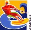 Vector Clipart illustration  of a Water Skiing