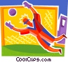 Soccer goalie saving ball Vector Clipart picture