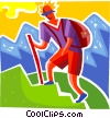 Hiker climbing mountain Vector Clip Art picture