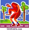 Vector Clipart image  of a Rollerblading