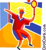 Vector Clip Art graphic  of a Badminton player