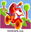 Boy on mountain bike Vector Clipart picture