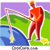 Fisherman with fish Vector Clip Art picture