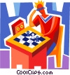 Man playing chess Vector Clipart illustration