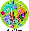 Party hats and birthday cake Vector Clip Art graphic