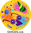 Vector Clipart image  of a party hat and funny disguise