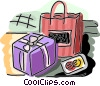 Vector Clip Art graphic  of a shopping bag with gift and