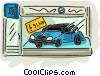 Vector Clip Art graphic  of a new car for sale