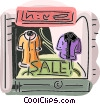 Vector Clipart picture  of a store front with jackets in