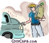 man putting groceries into his car Vector Clip Art image