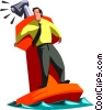 businessman stranded on a buoy Vector Clip Art graphic