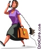 Vector Clip Art graphic  of a Women On The Phone