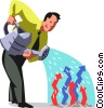 Vector Clip Art image  of a businessman watering his