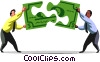 Businessmen piecing together money Vector Clip Art picture