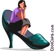 Vector Clipart picture  of a woman sitting in a shoe