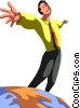Vector Clipart graphic  of a businessman on top of the
